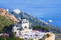Orthodox church in Foros, Crimea. Old orthodox church in mountains near Foros town. Crimea stock images