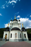 Orthodox church in Foros with sky and clouds. Summer view of the famous orthodox church located on the rock above the Black Sea in Foros, Ukraine royalty free stock image