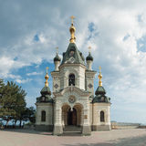 Orthodox church in Foros. With sky and clouds stock images