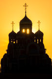 Orthodox Church of George Pobedonosets in the village of Romanovo Kaluga region (Russia) at sunset. Royalty Free Stock Photo