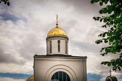 An orthodox church gold dome stock image