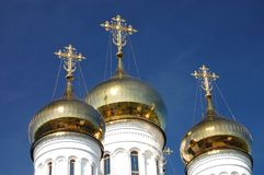 Orthodox Church with Golden Domes. In Russia royalty free stock photo