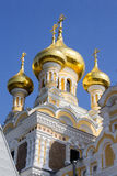 Orthodox church with golden domes Royalty Free Stock Image