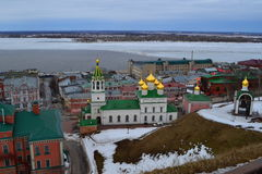 Orthodox church with golden domes. And green roof Royalty Free Stock Photos