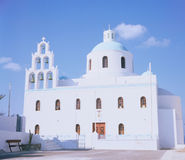 Orthodox church on Greece. Island, Santorini. Early morning Royalty Free Stock Image