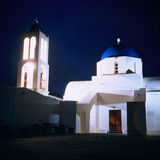 Orthodox church, Greece, night. Orthodox church on Greece island, Santorini. Night view. Winter 2001 Stock Photo
