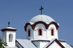 Orthodox church. Greek church roof and blue sky behind royalty free stock photography