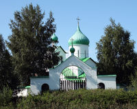 Orthodox church with green domes. In Russia Stock Images