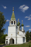 Orthodox church with green domes Royalty Free Stock Photography