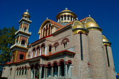 Orthodox church. Holy orthodox church of Saint George & Saint Modestus in Peristasi-Katerini-Grece (Northeast view Royalty Free Stock Image