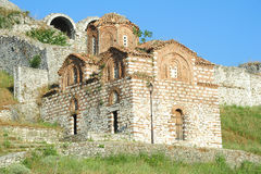 The orthodox church of holy Trinity at Kala fortless over Berat Stock Photos