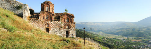 The orthodox church of holy Trinity at Kala fortle. Ss over Berat on Albania Stock Image