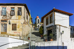 Orthodox church and houses in old town of Xanthi, Greece Royalty Free Stock Image