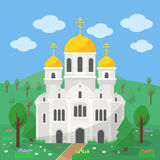 Orthodox Church. The image of the church with gold domes on the background of the rural landscape Stock Images