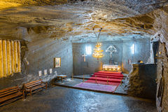 Orthodox church inside Cacica salt mine Stock Photo