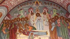 Orthodox church - interior paintings. Interior of orthodox church - interior paintings biblical fresco stock footage