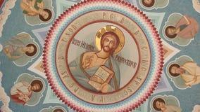 Orthodox church - interior paintings. Interior of orthodox church - interior paintings with Jesus Christ stock footage