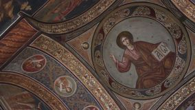 Orthodox church - interior paintings stock video footage