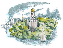 Orthodox Church in the island Royalty Free Stock Images
