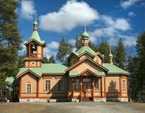 Orthodox church Joensuu Finland. Orthodox  Church of St. Nikolaos with blue sky and beautiful clouds in Joensuu, North Karelia in Finland, Europe Stock Photo