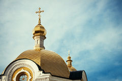 Orthodox Church Kyiv, dome, cupolas, Kiev-Pechersk Lavra. Eastern europe Royalty Free Stock Photos