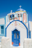 Orthodox church, kyklades. Typical orthodox  church in the kuklades with side buildings Royalty Free Stock Photography