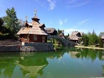 Orthodox church by lake Stock Photo