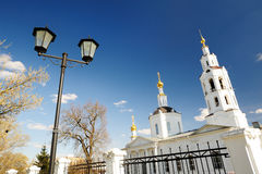 Orthodox church and lantern at clear blue sky Royalty Free Stock Image