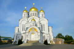 Orthodox church of a monastery in Diveevo, Russia. White-stone Transfiguration Cathedral of Holy Trinity-Saint Seraphim-Diveyevo Monastery, Diveyevo village Royalty Free Stock Photography