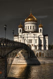 Orthodox church Moscow. Orthodox Russian church at the end of a bridge, Moscow royalty free stock photos