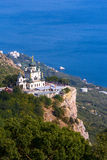 Orthodox church in mountains. Crimea. Ukraine. Old orthodox church in mountains near Foros town. Crimea. Ukraine royalty free stock image
