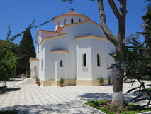Orthodox church in the mountains of Rhodes, Greece Royalty Free Stock Photography