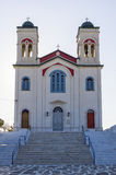 Orthodox church in Naoussa village, Paros island, Cyclades, Greece Stock Image