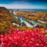 Orthodox church near the river in Svyatogorsk. Donetsk Region, Ukraine. Autumn colorful landscape Stock Images