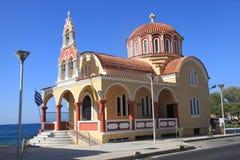 Orthodox church near sea coast, Crete, Greece Stock Image