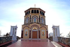 Orthodox church at hill Throni of Panayia over majestic Kykkos M Royalty Free Stock Images