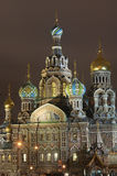 Orthodox church by night Stock Images