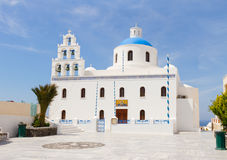 The Orthodox Church in Oia, Santorini. Stock Photo
