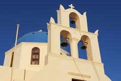 Orthodox church in Oia, Santorini, Greece. Royalty Free Stock Image