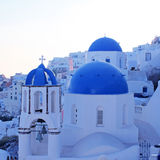 Orthodox church,Oia, Santorini island, Greece. White and blue orthodox church in the village of Oia, Santorini island, Greece. Square toned image Stock Image