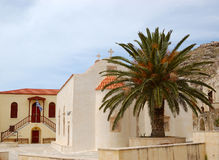 Orthodox Church and palm tree Royalty Free Stock Photo