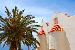Orthodox Church and palm tree fronds Royalty Free Stock Photography