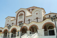 Orthodox Church of Panagia Faneromeni. Nea Mixaniona Thessaloniki Greece. Orthodox pilgrims visit the church by the thousands on 23 August, nine days after the stock image