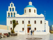 The orthodox church of Panagia in Oia stock photography