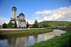 Orthodox church and panorama of Sighisoara Royalty Free Stock Photo