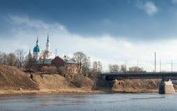 Orthodox church on the river coast. Kingisepp Royalty Free Stock Photo