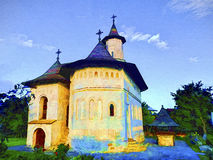 Orthodox church in Romania. Oil painting Royalty Free Stock Photography