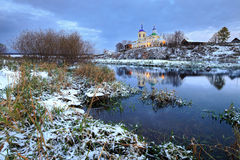 Orthodox church, russian church, first snow in village, building Royalty Free Stock Images
