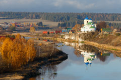 Orthodox church, russian church, first snow in village, building Royalty Free Stock Image