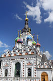 The orthodox church in russian style. The orthodox church with colored domes, Saratov, Russia Royalty Free Stock Images